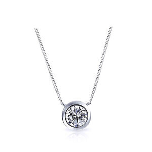 """Round Simulated Diamond Solitaire Pendant W/18"""" Chain 925 Sterling Silver"""