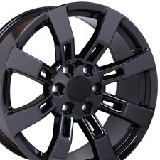 "22"" Wheels For GMC Yukon Chevy Tahoe Sierra Suburban Black Chrome (Rims Set 4)"