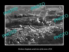 OLD LARGE HISTORIC PHOTO OF PERSHORE ENGLAND, AERIAL VIEW OF THE TOWN c1930 2