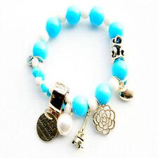 New Fashion Jewelry Acrylic Beads Golden Pendant Stretch Woman Party Bracelet