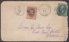 1881 USA 2c to Pittsburgh, New York Transit; 3c Due Cachet+Postage Due Adhesive