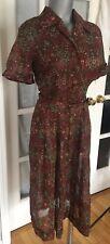 "True Vintage 1940s Geometrical Sheer Dress by ""Mynette"" Pin Up 40s Vtg"