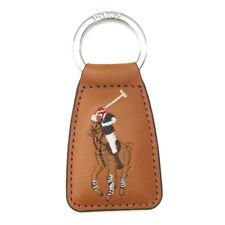 NEUF origine RALPH LAUREN en Cuir Marron Logo Porte-clés Keyfob Keychain Grand Cadeau