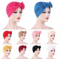 Women's Bowknot Beads Muslim Hat Ladies Hijabs Cancer Chemo Cap Turban Head Wrap