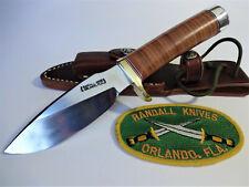 """RANDALL KNIFE Model 11 ALASKAN SKINNER .01 tool steel 4.5"""" Leather/Brass Hilt"""
