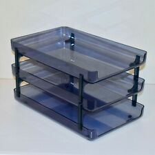 Vintage Eldon 3 Tier Crystal Blue Legal Size Stacking Letter Trays 2100 Desk Lot