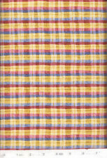 New Year's Red Blue Gold Plaid Quilt Fabric - Free Shipping - 1 Yard