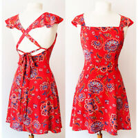NEW Charlotte Russe Red Floral Ruffle Sleeves Crisscross Open Back Sun Dress