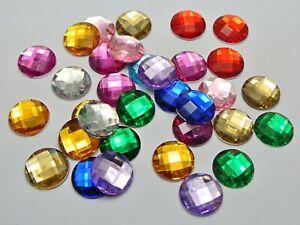 25 Mixed Color Acrylic Flatback Rhinestone Round Gem Beads 25mm No Hole
