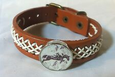 HORSE SNAP & LEATHER twine stch BRACELET 18-20MM EVENTER JUMP Montage BUBBLES!!