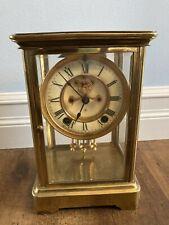 Antique Ansonia Brass Regulator Shelf Mantel Clock in Glass Case Early 1900s