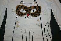 New Carter's Girls Leopard Fuzzy Mask Kitty Cat Top NWT 3T 4T Glitter Applique