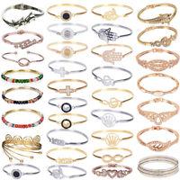 New Women Lots Style Gold/Silver Plated Charm Bangle Cuff Bracelet Jewelry