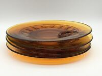 VTG Indiana Glass Amber Kings Crown Thumbprint Pattern Set of 4 Snack Plates (3)