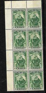 Malta, 1951 Scapular centenary 1d green MNH corner block of 8 (M595)
