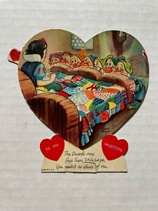 Vintage 1938 Mechanical Valentine's Day Card -- Snow White and the 7 Dwarfs