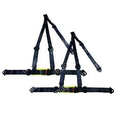 Pair Black 3 Point Racing Rally Race Harness With Anchor Plates UK