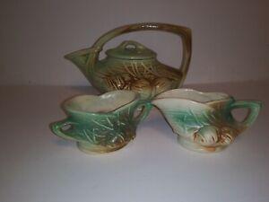 McCoy Pottery Pine Cone Tea Set: Teapot, Creamer, and Sugar Bowl Ex, Condition