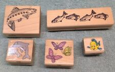 5 Rubber Stamps 2 Fish, 1 Dolphin, 1 Fish By Disney, And Butterflies