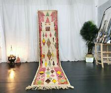 """Moroccan Vintage Handmade Runner 2'4""""x11'4"""" Geometric Pink Beige Berber Wool Rug"""