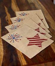 Americana Stars & Stripes Burlap USA Flag 4 pc Placemats Patriotic Table Linen