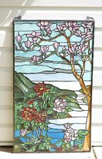 "20"" x 34"" Large Handcrafted stained glass Jeweled window panel Cherry Blossom"