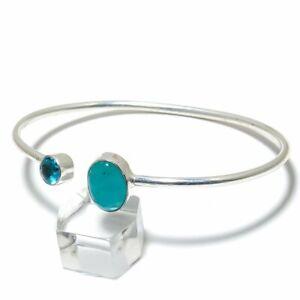 Aquamarine, Blue Topaz Gemstone Handmade 925 Silver Cuff Bracelet Adjustable