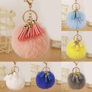 Elegant Soft Fluffy Faux Fur Ball Key Chain PomPom Tassel Handbag Car Key Ring