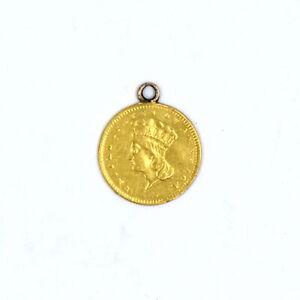 ANTIQUE 1856 $1 INDIAN PRINCESS 90% GOLD RARE US COLLECTIBLE COIN PENDANT
