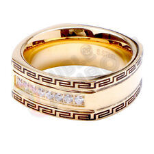 R7 Men's Stainless Steel Gold Silver CZ Square Band Ring Size 8-13