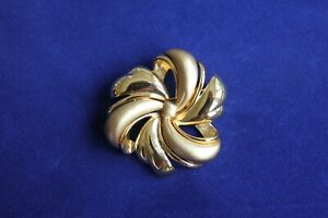 Large Vintage Gold Tone Brooch by Monet