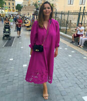 H&M Conscious Embroidered Purple Kaftan Dress Bloggers Favourite Sold Out Size S