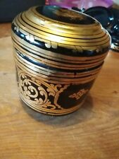 Vintage gold /Black lacquered round trinket box. Burmese, excellent condition.