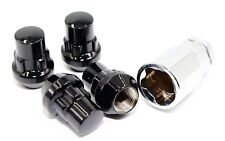 "4 Gloss Black Acorn Bulge Wheel Lug Nut Locks 12x1.5 1.40"" Toyota"