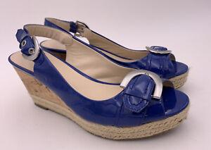 Women's Franco Sarto Blue Wedge Sandals Size 7.5