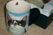 Hugo Hege cross eyed cat w/ butterfly coffee mug cup, NIB