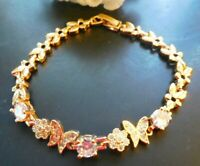NEW Flowers Charm Rose Gold Tone Bracelet Butterfly Women  Jewelry US Seller