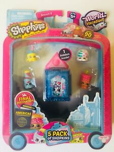 SHOPKINS SEASON 8 WORLD VACATION NEXT STOP AMERICAS 5 PACK LIMITED RELEASE HTF