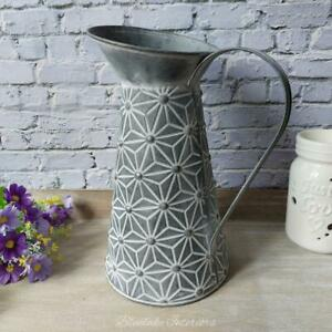Grey Zinc Geometric Daisy Design Tall Jug