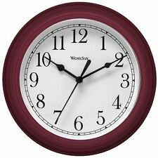 Westclox 10 Inch Diameter Round Faux Woodgrain Battery Operated Wall Clock