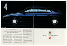 1990 CITROEN XM V6 Vintage Original 2 page Print AD - Black car photo France