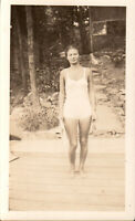 Vintage photo -Sexy Girl in bathing suit at beach, 1930s