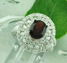 3.98 ct 18k Solid White Gold Ladies Natural Oval Garnet & Diamond Ring Baguette