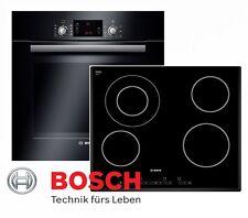 BOSCH Herdset Autark Schwarz Backofen Teleskopauszuge + Glaskeramik Kochfeld NEU