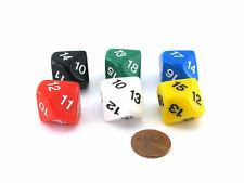 Pack of 6 D10 20mm Numbered 10 to 19 Dice - Assorted Colors