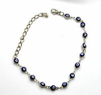 Evil eye silver plated bracelet from Israel BLUE beads JEWISH JEWELRY - NEW