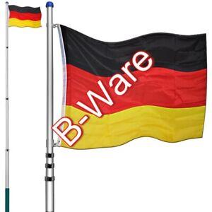 B-Ware Alu Teleskop Fahnenmast Mast 6,30m inkl. Deutschlandfahne