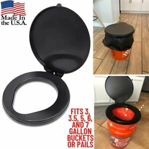 5 Gallon Bucket Toilet Seat w/ Lid Travel Outdoor Hiking Camping Snap On Black