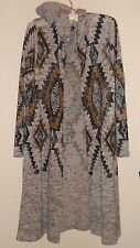 Almost Famous Womens Coat Duster Aztec Long Hooded Medium New