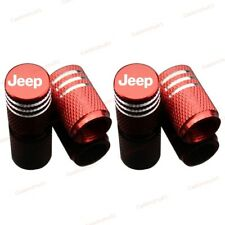4x Red Metal Universal Car Logo Accessories Wheel Tyre Tire Valve Caps For JEEP